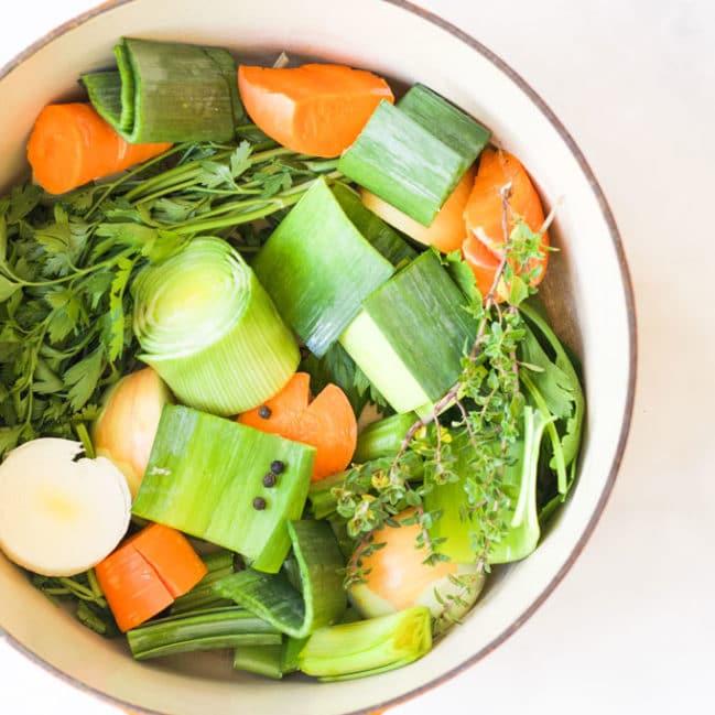 Vegetable Stock Ingredients in Pan