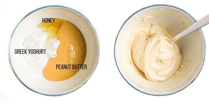 Peanut Butter Dip Ingredients Before and After Mixing