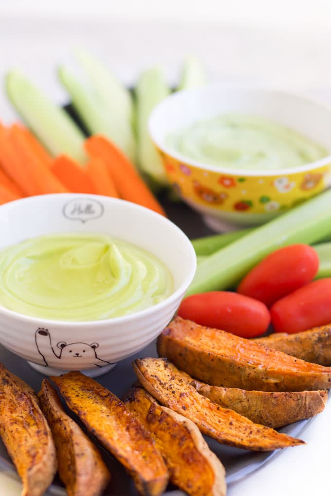 Avocado Dip in Bowl with Veggies on Side