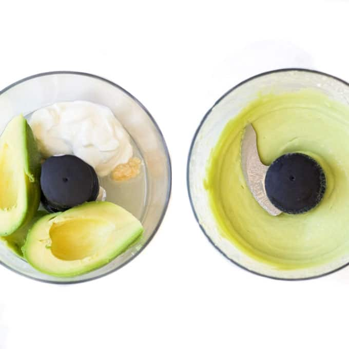 Avocado Dip Before and After Blending