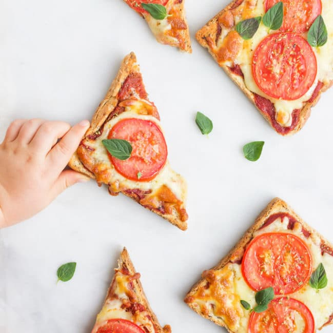 Child Grabbing Slice of Pizza Toast