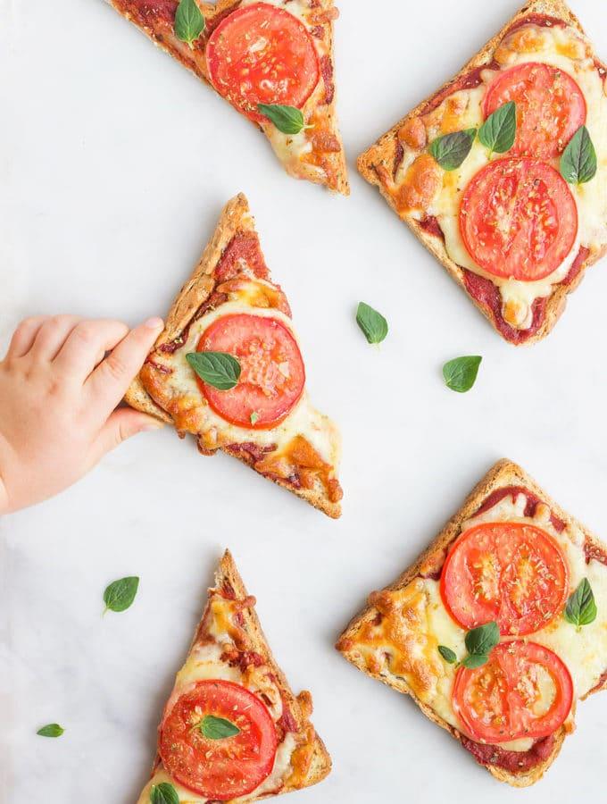 Child Grabbing Slice of Pizza Toast