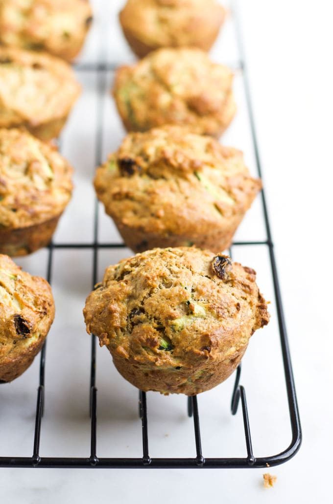 Side View of Zucchini Muffin on Cooling Wire