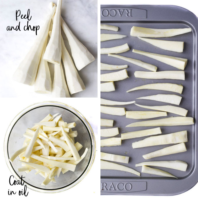 How To Make Roasted Parsnips Process Steps. (Peel, Chop, Oil, Cook)