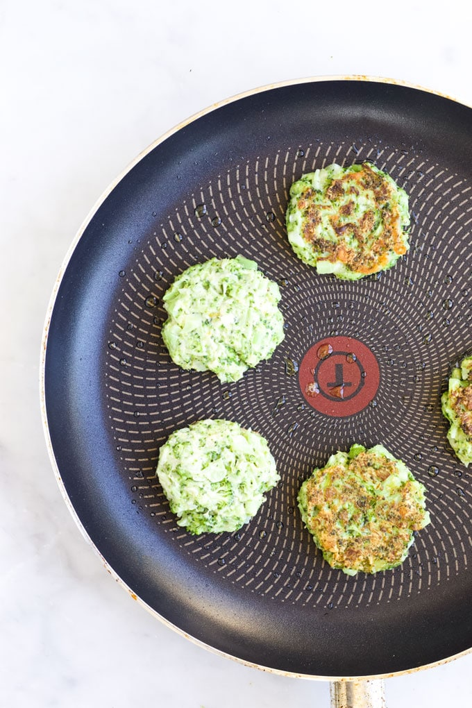 Broccoli Fritters in Frying Pan