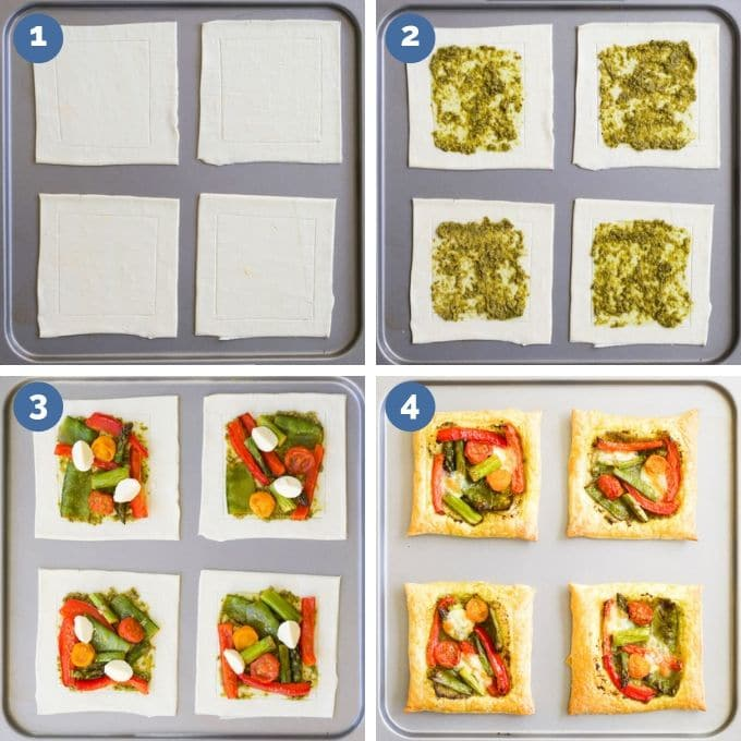 How Vegetable Puff Pastry Tarts are formed. 4 Process Steps