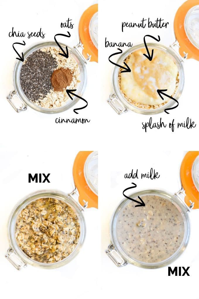 How to Make Banana Overnight Oats - 4 Process Steps