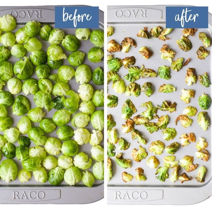 Brussels Sprouts Chips on Baking Tray Before and After Cooking