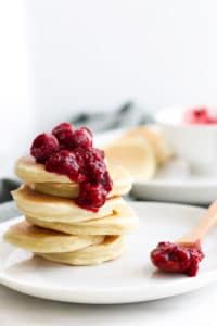 Stack of 6 Scotch Pancakes Topped with Fruit Compote