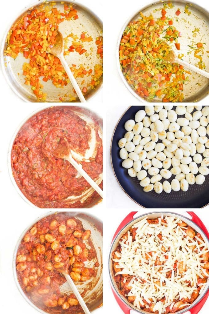 6 Images Showing the Cooking Steps for Making Gnocchi Bake