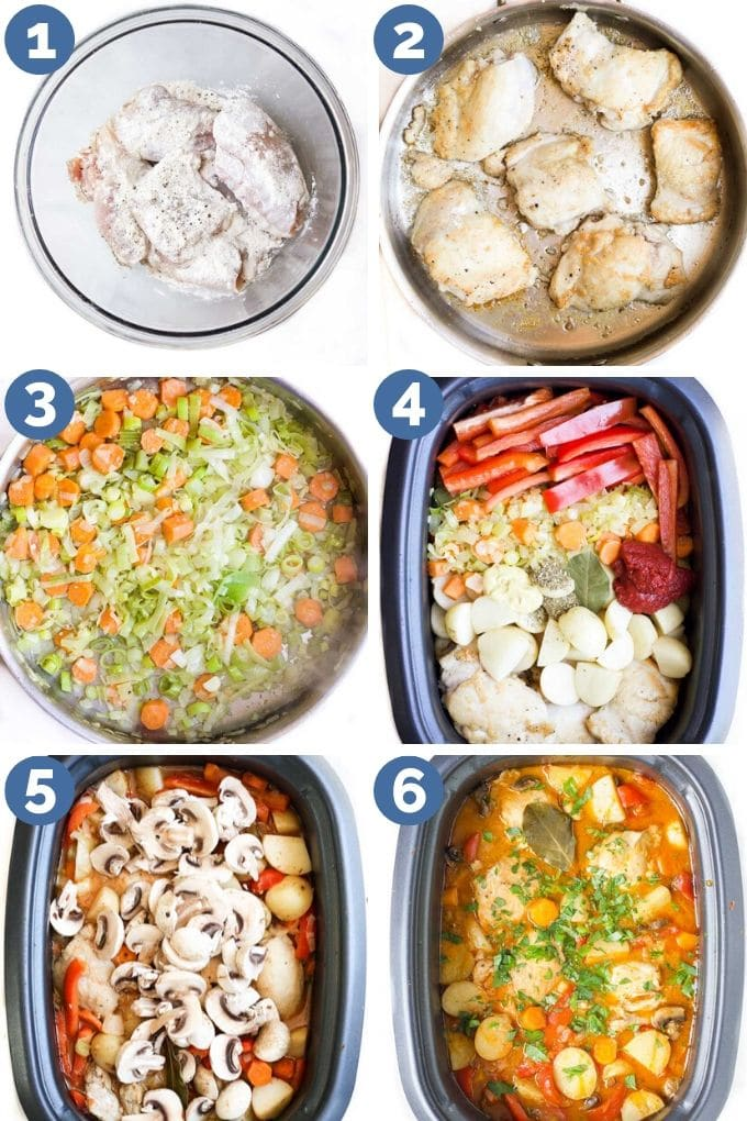 How to Make Slow Cooker Chicken Casserole (Process Shot Collage)