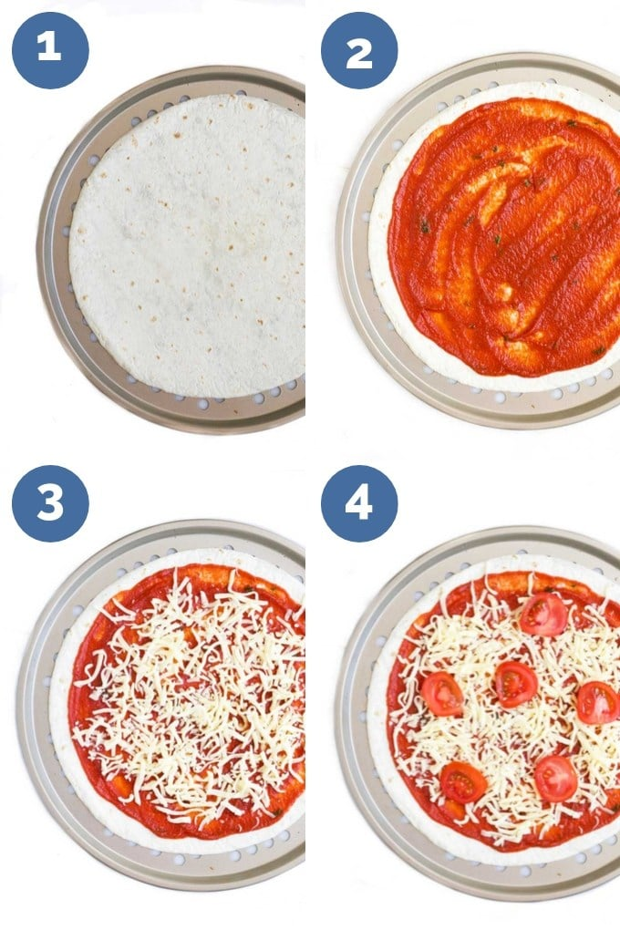 How to Make Tortilla Pizzas (4 Process Steps)