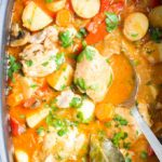 Top Down, close up view of Cooked Chicken Casserole in Slow Cooker