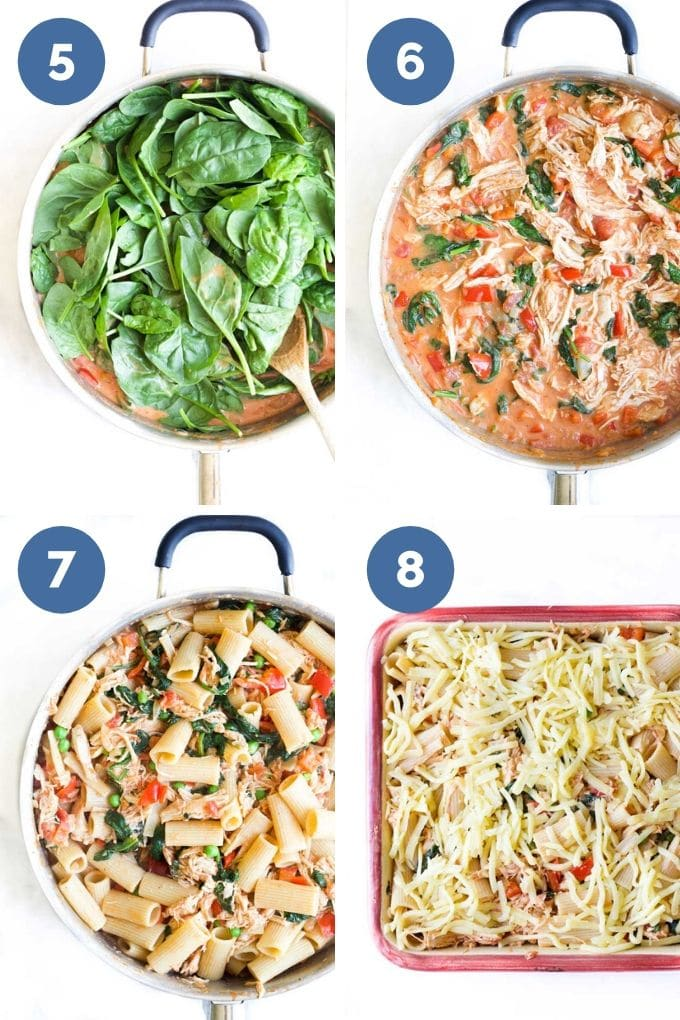 Process Steps 5-8 How to Cook Chicken Pasta Bake