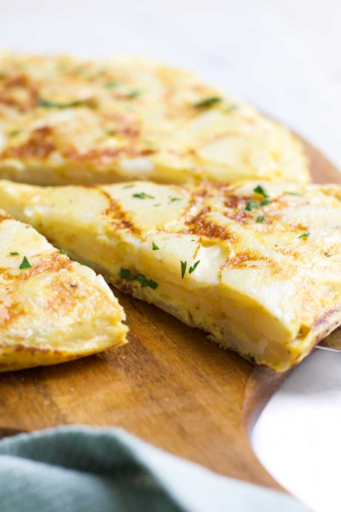 Side View of Spanish Omelette (Cut Into Wedges)