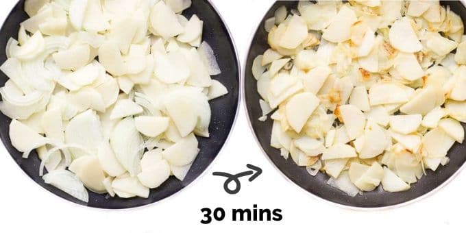 Potato and Onion for Spanish tortilla in Pan (before and after cooking)