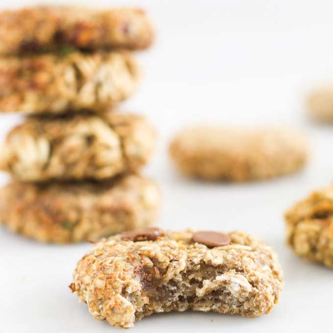Banana Oat Cookie with Bite Out of it