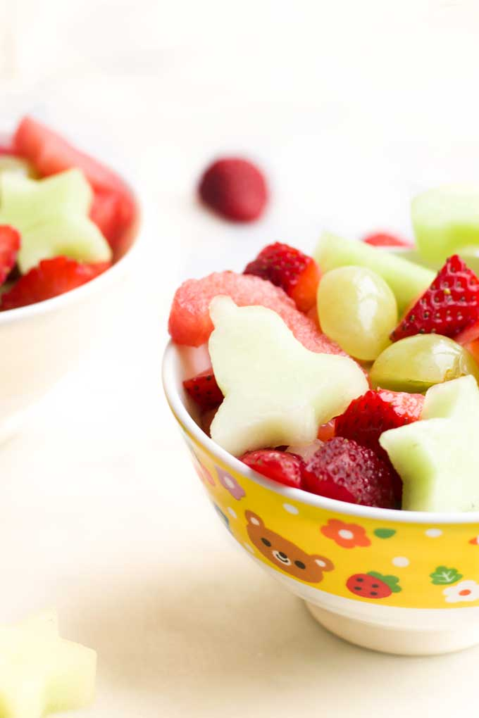 Side View of Christmas Fruit Salad in Bowl