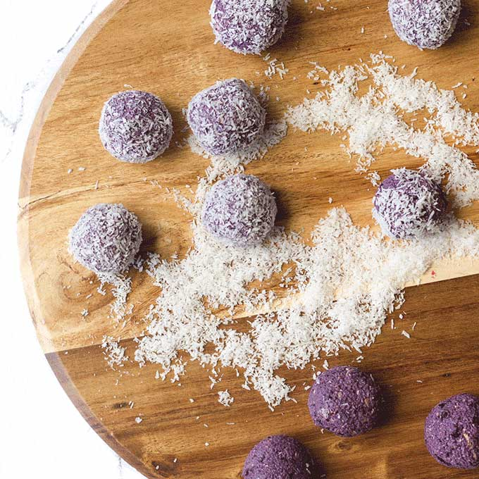 Blueberry Bliss Balls Rolled in Coconut