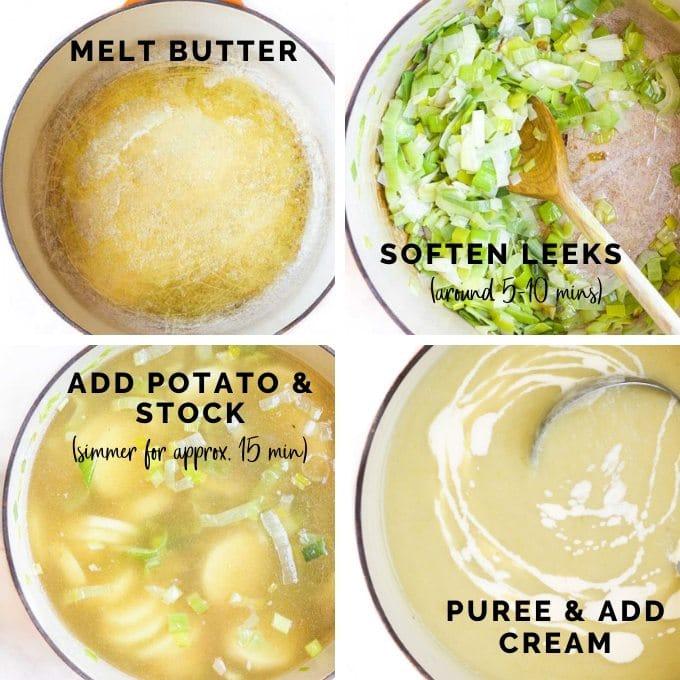 Process Steps for Making Leek and Potato Soup