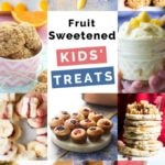 Collage of healthier treats sweetened with fruit