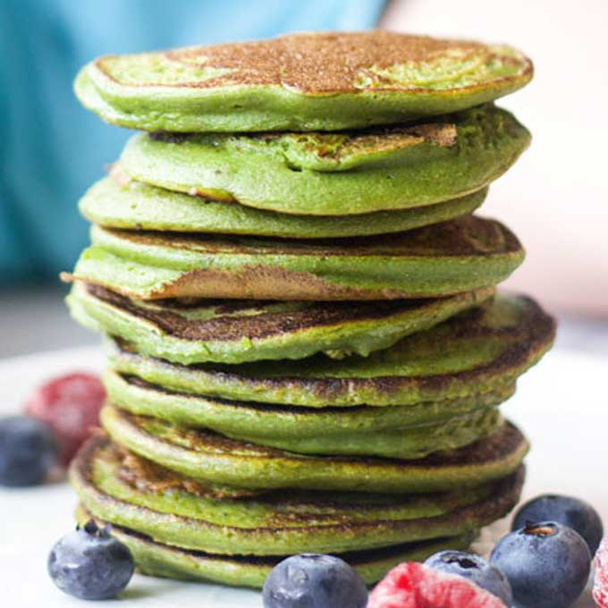 Stack of Green Smoothie Pancakes