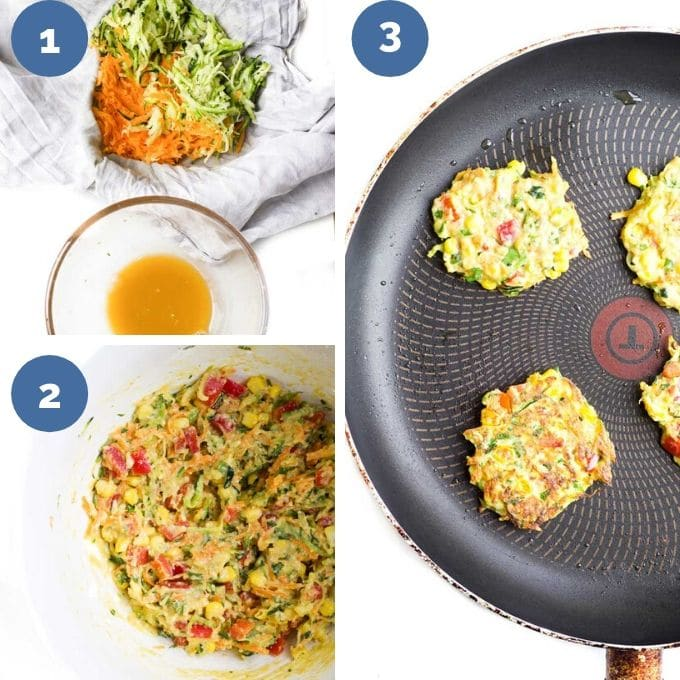 Collage Showing How to Make Vegetable Fritters (3 Process Steps)