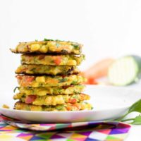 Stack of Vegetable Fritters on Plate