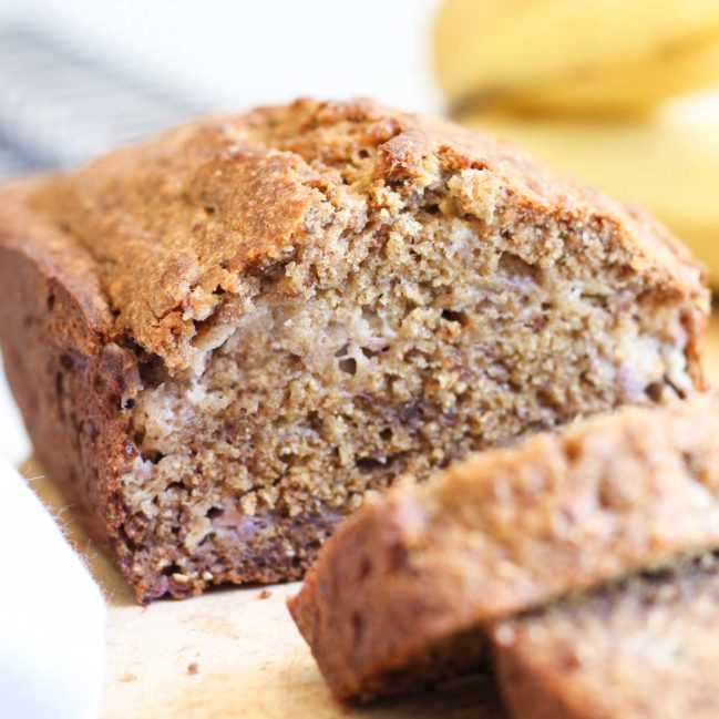 Healthy Banana Bread Cut on Wooden Chopping Board