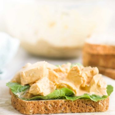Coronation Chicken on Slice of Bread