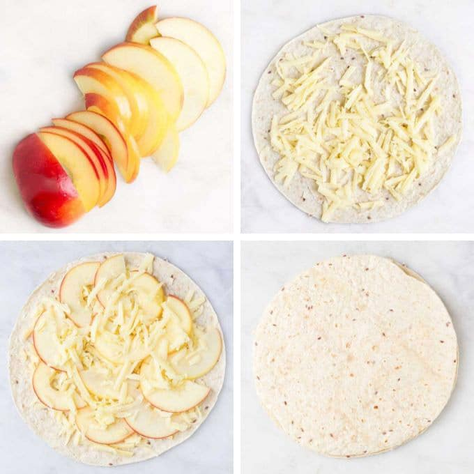 Apple and Cheese Quesadillas Process Steps