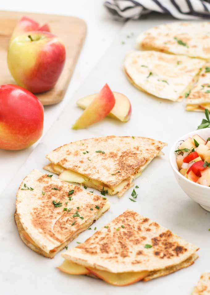 Apple and Cheese Quesadillas Cut into Triangles