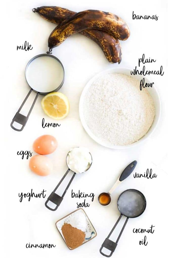 Top Down View of Ingredients Needed for Baby Banana Muffins