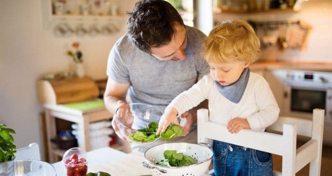 Young Toddler Helping Dad to Cook
