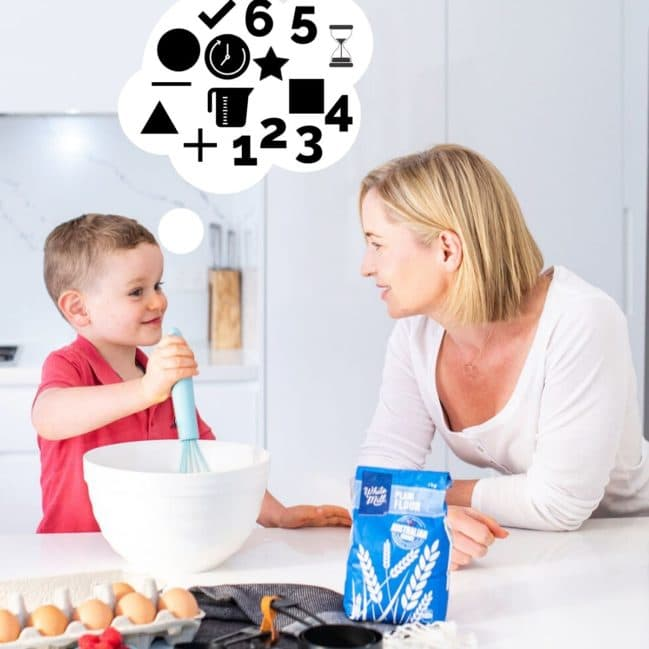 Child Cooking With Parent. Thought Bubble Coming from Child's Head Showing Mathematical Numerals, Shapes and Symbols