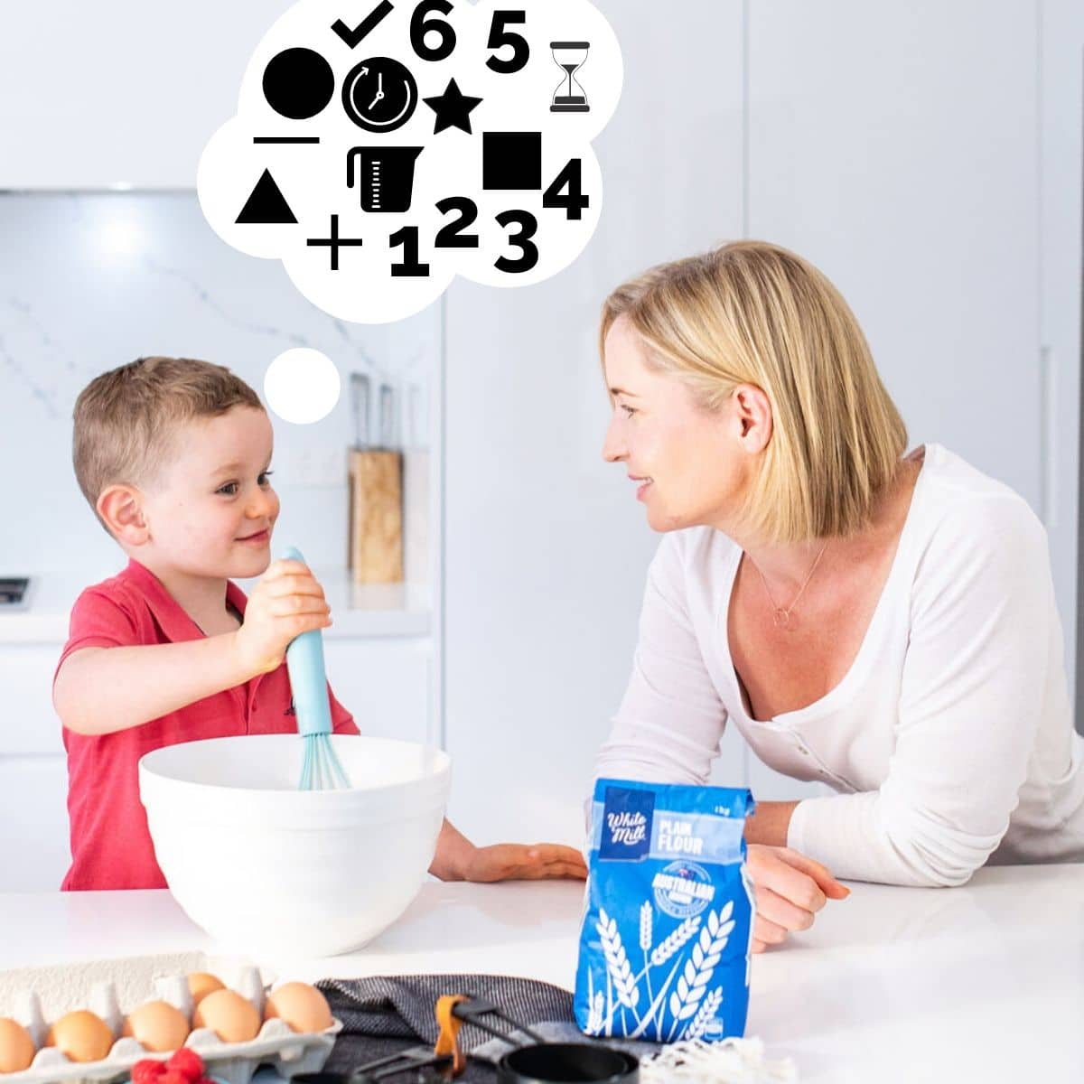 Developing Early Math Through Cooking Pic of Child Cooking with Parent with Thought Bubble Full of Maths Icons