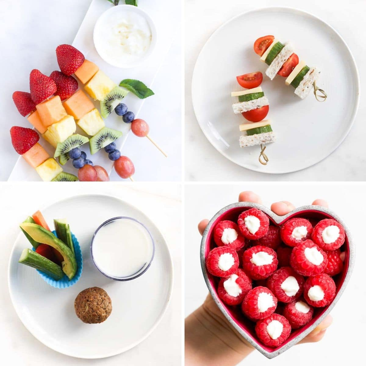 Grid of Healthy Snacks for Kids