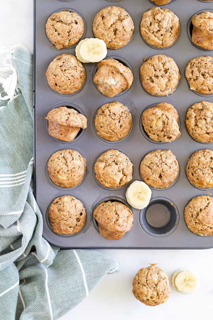 Banana Baby Muffins Freshly Baked in Muffin Tray