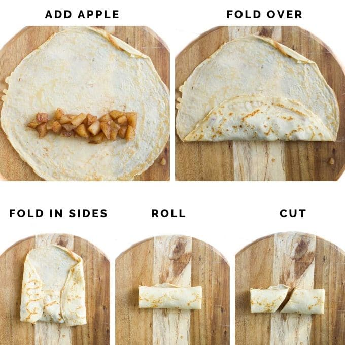 Process Shots for Filling, Rolling and Cutting the Crepes