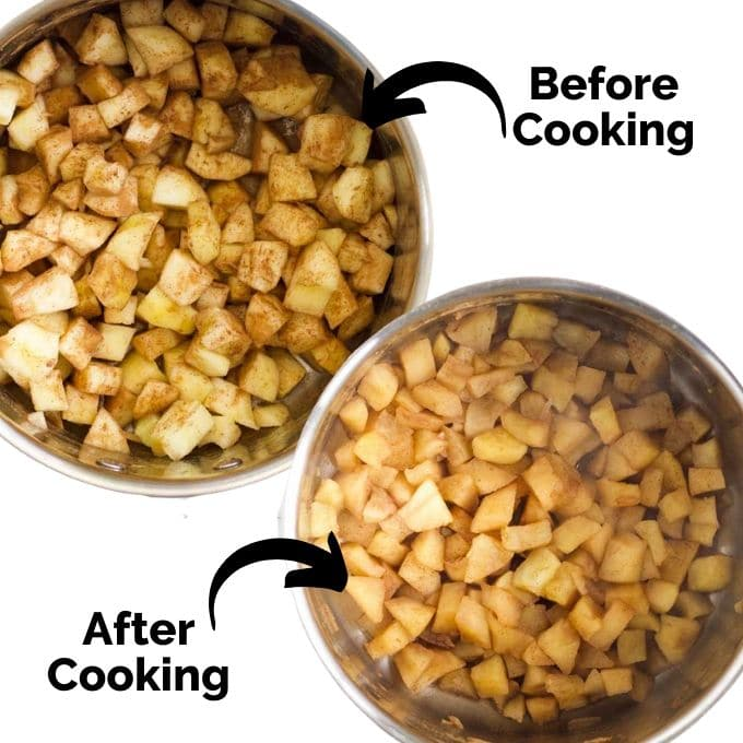 Picture Showing Apple Chunks Before and After Cooking