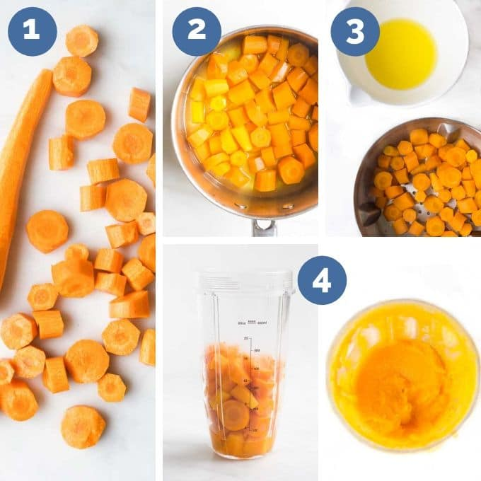 The 4 Process Steps to Making Carrot Puree in Collage