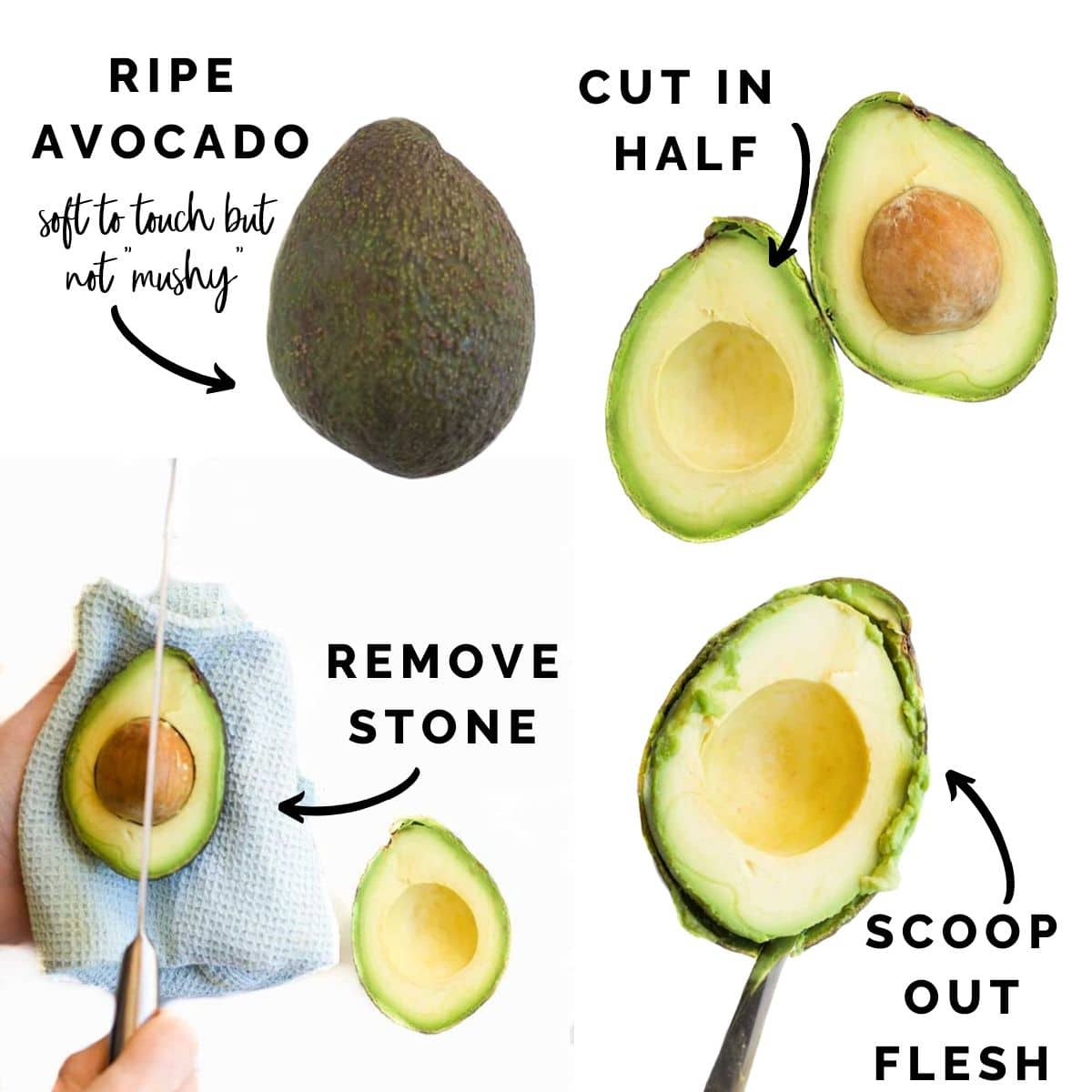 4 Images Showing How to Cut an Avocado