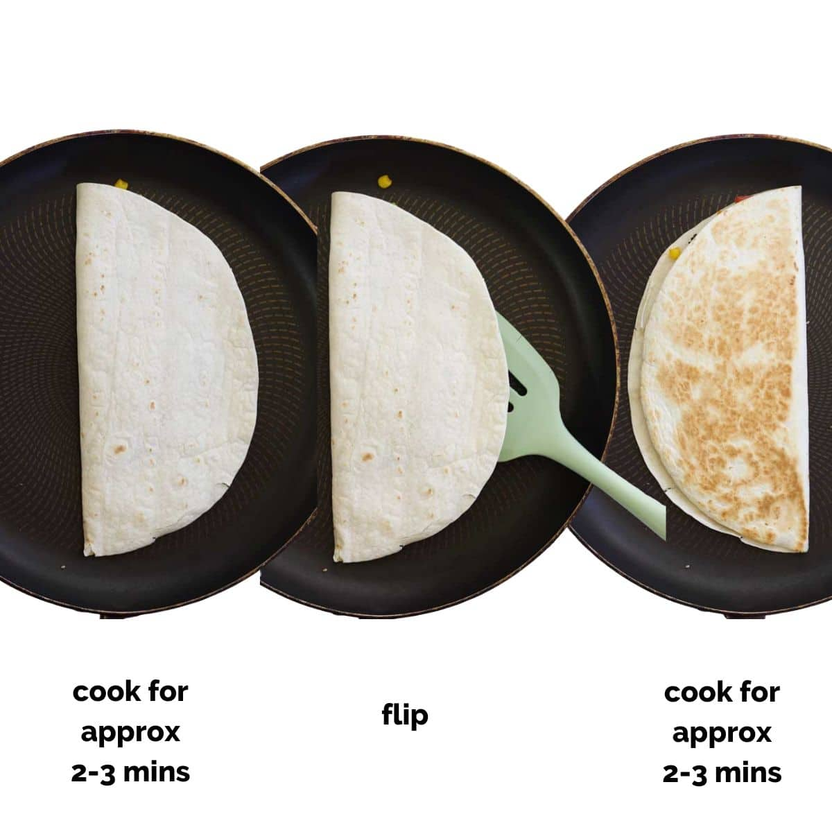Image Showing 3 Pans (Before, During and After Flipping the Quesadilla)