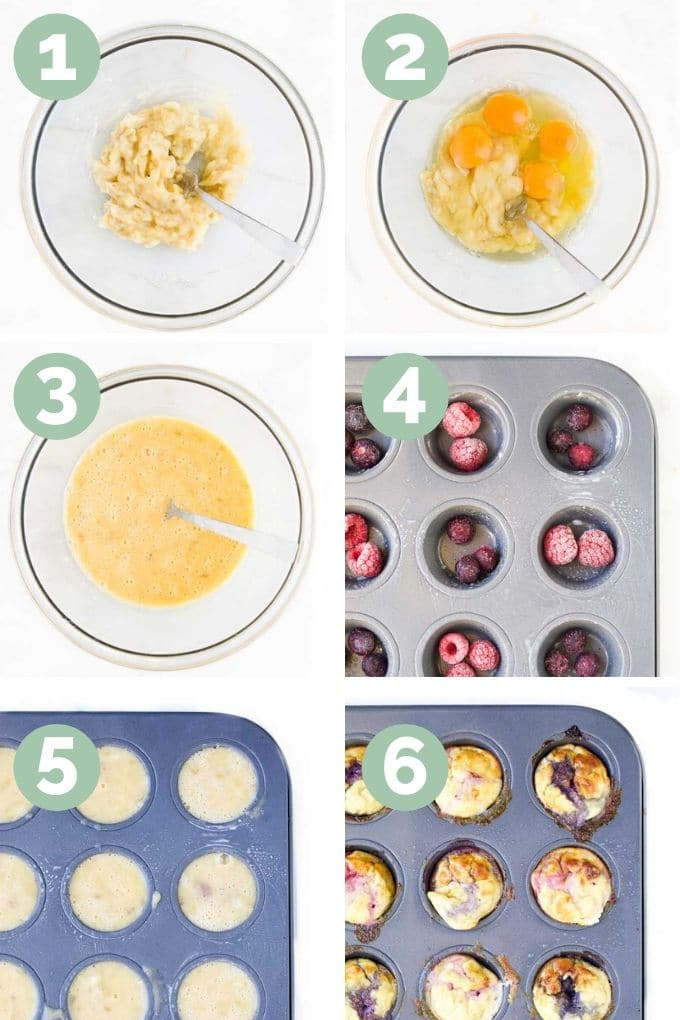Collage of Six Images Showing the different Process Steps for Making Fruity Egg Muffins