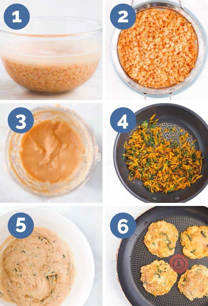 Lentil Pancake Process Steps