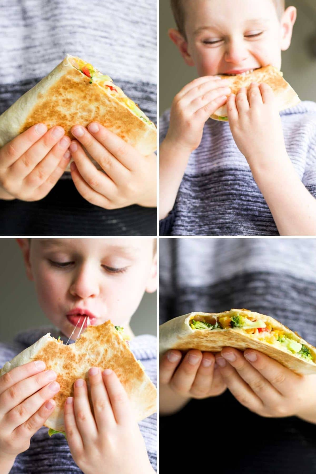 Collage of 4 Pictures Showing Child Eating Vegetable Quesadillas