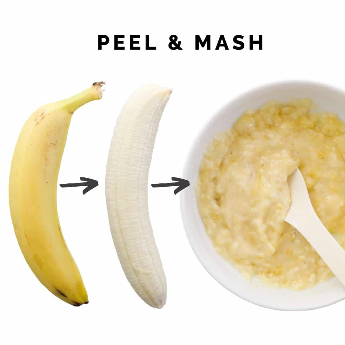 Banana Before Peeling, Banana After Peeling and Banana Mashed in Bowl