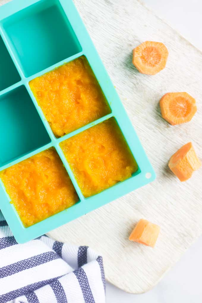 Carrot Puree in Flexible Tray fro Freezing