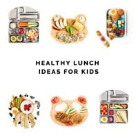 Healthy Lunch Ideas for Kids Collage of Different Lunches