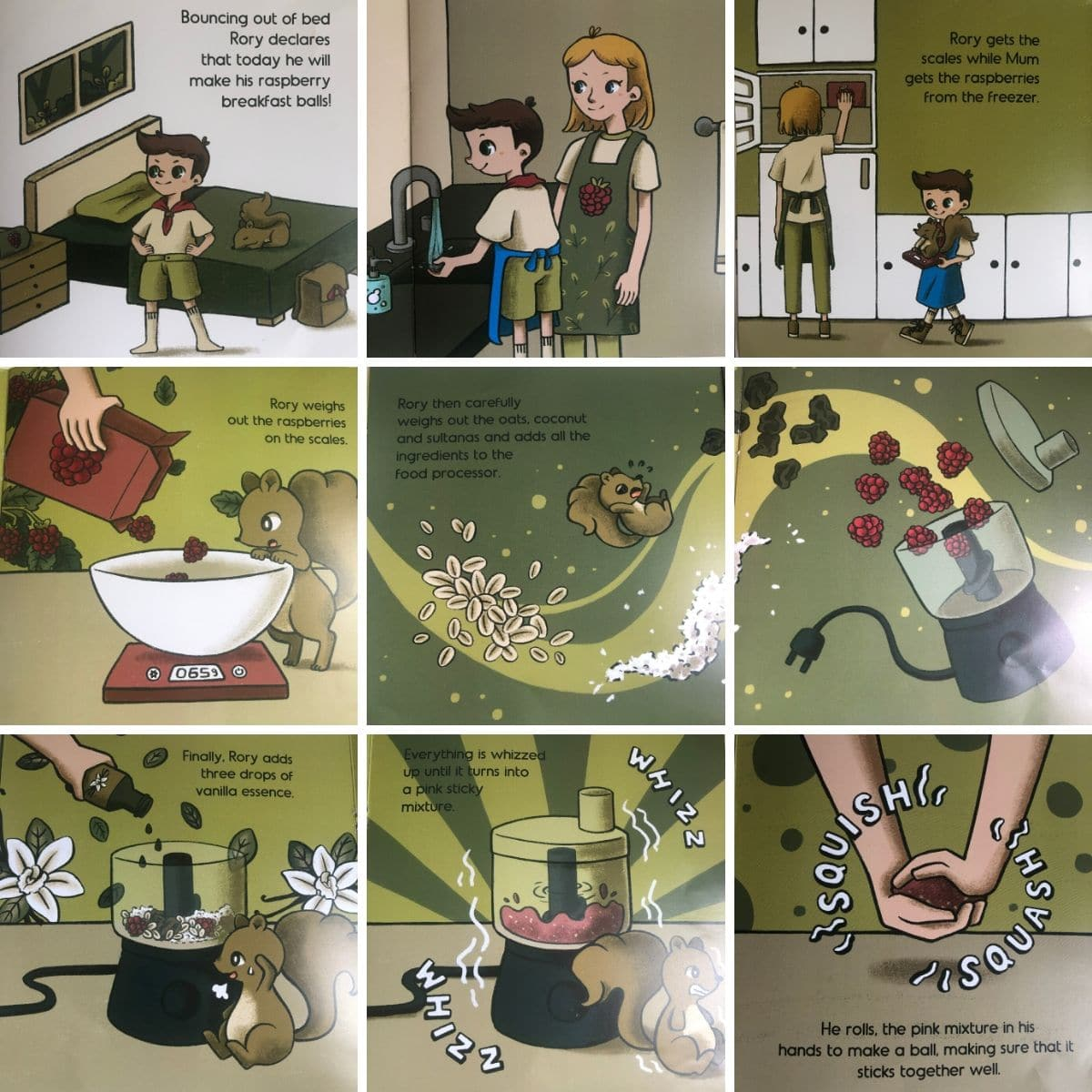 Nine Pages of Raspberry Balls Storybook Illustrated in Grid